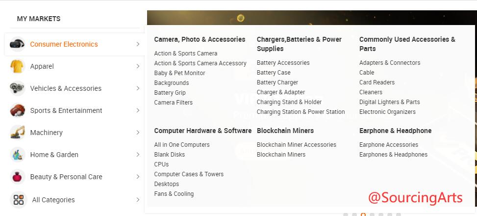 Alibaba product categories