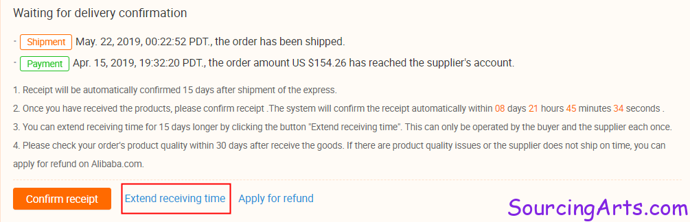 Alibaba waiting for delivery confirmation